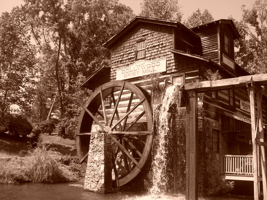The Dollywood Grist Mill- one of the park's most famous landmarks